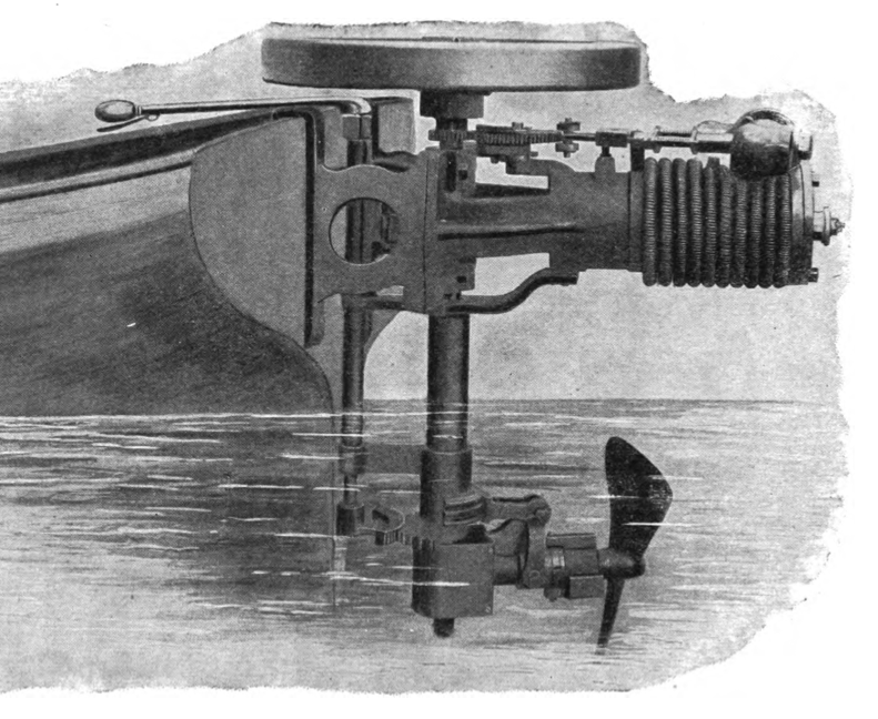 """The"""" First American"""" rowboat motor, 1896 - Jack Craib's Rowboat Motor Information Site; antique outboard motors"""